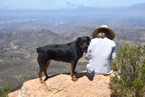 Seven always likes to get on the rock to enjoy the view: July 4, 2015 on Iron Mountain peak