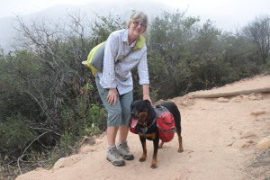 Carolyn and Seven on Iron Mountain trail